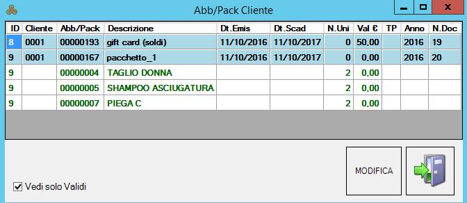 abbonamenti e pacchetti acquistati dal cliente